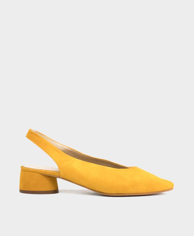 Bailarina destalonada con punta fina en ante ante amarillo girasol.