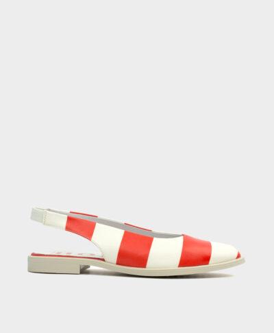 Bailarina plana destalonada con punta fina en piel de rayas en rojo y blanco.